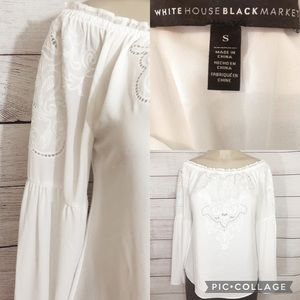 WHBM White Cutout Embroidered Off Shoulder Blouse